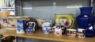 WADEHEATH IMARI DECORATED POTTERY TEA SERVICE OF 3 PIECES, AND MISC CERAMICS INCLUDING; A POTTERY