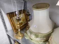 A PAIR OF BRASS TABLE LAMPS ANS SHADES, THREE MODERN GILT FRAMED OIL PAINTINGS, RIVER SCENES WITH