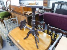 TWO MOORISH HARDWOOD SMALL TRIPOD TABLES, WITH MOTHER OF PEARL INLAID TOPS (ONE AS FOUND)