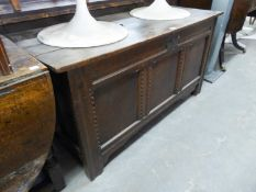 ANTIQUE OAK COFFER, WITH THREE PANEL FRONT AND HINGED LID