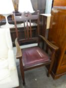 ART NOUVEAU MAHOGANY CARVER?S ARMCHAIR WITH THREE RAIL BACK, DROP-IN SEAT