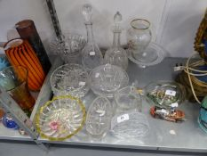 TWO CUT GLASS DECANTERS, A CUT GLASS CIRCULAR BOWL AND DOMED COVER, A CUT GLASS VASE AND