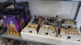 HARWOOD DELL BOXED CERAMIC CHRISTMAS VILLAGE WITH FOUR CERAMIC HOUSES ETC.. AND THREE BOXED