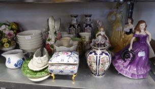 TWO LEONARDO CHINA CRINOLINE FIGURE; TWO OTHER FIGURES AND MISC CHINA VASES, CUPS AND SAUCERS