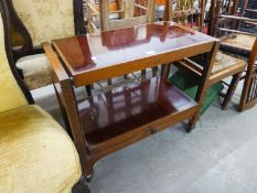 A TWO TIER TEA TROLLEY/COFFEE TABLE