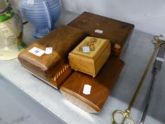 19TH CENTURY WALNUT JEWELLERY BOX WITH FITTED INTERIOR AND FOUR VARIOUS WOODEN BOXES (5)