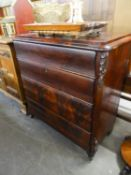 ANTIQUE BIEDERMEIR STYLE MAHOGANY CHEST OF FOUR DRAWERS
