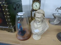 A RESIN BUST OF QUEEN VICTORIA; A COLD PAINTED LEAD MODEL OF AN EARLY NINETEENTH CENTURY SOLDIER, ON