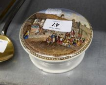 PRATT POTTERY POMADE POT AND LID PRINTED WITH A SCENE ?SHAKESPEAR?S HOUSE, HENLEY STREET,