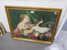 PICTORIAL NEEDLEWORK TAPESTRY, LADY IN PERIOD DRESS SEATED PLAYING A LUTE, 19 1/2IN X 25IN (49.5 X