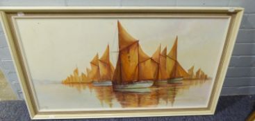 GORDON ALLEN (b.1953) OIL ON CANVAS Fishing fleet under sail on a calm day Signed 19? x 36?