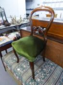 VICTORIAN WALNUT BALLOON BACKED SINGLE CHAIR, ON FRENCH CABRIOLE FRONT SUPPORTS