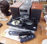SONY MP3 COMPACT DISC AND TAPE PLAYER WITH PAIR OF SONY SPEAKERS, PANASONIC BLUE-RAY DISC PLAYER AND