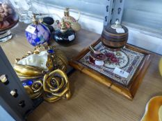 VICTORIAN FLORAL TILE FRAMED AS A TEAPOT STAND, EASTERN GLOBULAR BOX AND IVORY ? LID; A SMALL