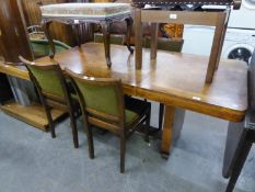 AN ART DECO DINING ROOM TABLE WITH EXTRA LEAF 120cm long x 83cm high x 165cm long, WHEN EXTENDED AND