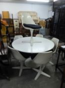 ARCANA STYLE WHITE FINISH CIRCULAR PEDESTAL TABLE AND SIX REVOLVING WHITE MOULDED PLASTIC POD
