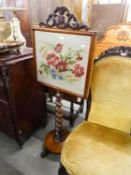 GOOD QUALITY ANTIQUE TAPESTRY INSET FIRESCREEN, HAVING BARLEY TWIST COLUMN ON CIRCULAR BASE AND