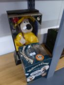 WESCO 'WALLACE AND GROMMIT TALKING ALARM CLOCK', BOXED, AND LIMITED EDITION  'GROMIT' TOY DOLL, IN