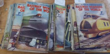 'RAILWAY WONDERS OF THE WORLD' WEEKLY MAGAZINE 1935-36, APPROX 48 COPIES (VARYING CONDITIONS)