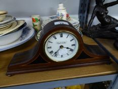 KNIGHT AND GIBBINS, LONDON, MANTEL CLOCK INLAID MAHOGANY NAPOLEON'S HAT SHAPED CASE