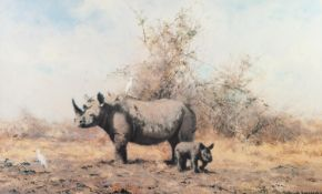 DAVID SHEPHERD ARTIST SIGNED COLOUR PRINT 'The Rhino's Last Stand' with dedication in artist's