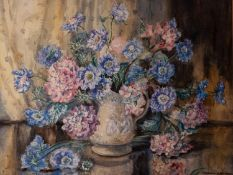 "MARION BROOM (Twentieth Century) WATERCOLOUR Flowers in a moulded jugSigned lower right 21 1/4"" x 28"