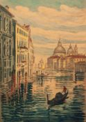 BELA SZIKLAY (Hungarian 1878 - 1949) PAIR OF ARTIST SIGNED HAND-COLOURED ETCHINGS Venice and Milan