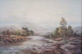 AFTER W. REEVES COLLOTYPE PRINT Highland river scape with fisherman in the fore ground 23 ¼? x 35 ¼?