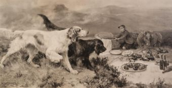 AFTER ALFRED W. STRUT (1856-1924) ARTIST SIGNED PHOTOGRAVURE OF GUN-DOGS, a young boy and a horse