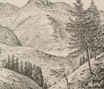 ALFRED WAINWRIGHT (1907-1991) SIGNED BLACK AND WHITE PRINT ?Bowfell, from Lingmoor Fell? 6 ¾? x 7 ¼?