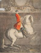 JOHANN ELIAS RIDINGER SUITE OF SIX COLOURED ENGRAVINGS Equestrian figures Titled in German, French