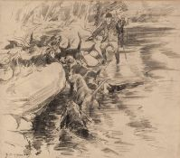 AFTER G. D. ARMOUR THREE PRINTS OF PENCIL DRAWINGS'Otter Hunting'; 'Carriage Driving' and 'A