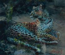 ROLF HARRIS (b.1930) ARTIST SIGNED LIMITED EDITION COLOUR PRINT ?Leopard Reclining at Dusk?, (37/