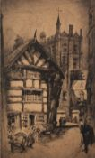FRANK LOVEL T.H.GREENWOOD (TWENTIETH CENTURY) TWO ARTIST SIGNED ETCHINGS Street scene with