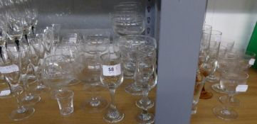 9 STEM GLASSES WITH ETCHED GLASS BOWLS, SET OF SEVEN PLAIN HAND MADE CONICAL SHERRY GLASSES; SET