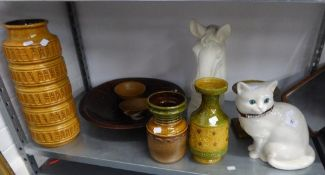VARIOUS STUDIO POTTERY TO INCLUDE; HORSES HEAD, LARGE CAST VASE ETC....
