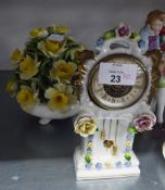 CONTINENTAL PORCELAIN MANTEL CLOCK WITH SPRING DRIVEN MOVEMENT, FLORAL ENCRUSTED AND A LARGE CHINA