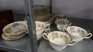 A WEDGWOOD CHINA 'LICHFIELD' DINNER SERVICE ORIGINALLY FOR 12 PERSONS (APPROX 34 PIECES)
