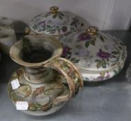 STUDIO POTTERY JUG, PAINTED WITH FOLIATE SCROLLS AND A PAIR OF WEDGWOOD CHINA CIRCULAR TWO HANDLED