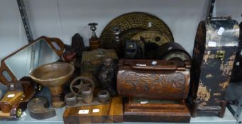 QUANTITY OF WOODEN ITEMS TO INCLUDE; CANDLESTICKS, OLD BARBERS MIRRORS, BOWLS, FACE MASKS,