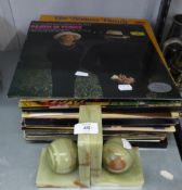 A PAIR OF GREEN ONYX BOOKENDS AND A QUANTITY OF VINYL GRAMOPHONE RECORDS, MAINLY CLASSICAL