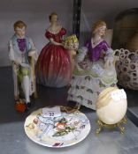 A LARGE ROYAL DOULTON CHINA FIGURE ?ROSEANNA AND A LADY IN A CRINOLINE DRESS,  A POTTERY FIGURE OF A