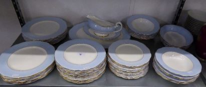 ROYAL ALBERT PALE BLUE AND WHITE CHINA EXTENSIVE DINNER SERVICE FOR TWELVE PERSONS, 54 PIECES