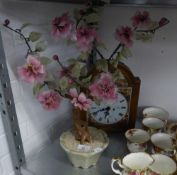 AN ORIENTAL ORNAMENTAL HARDSTONE FLOWERING SHRUB IN A POT AND A MODERN CLOCK (2)