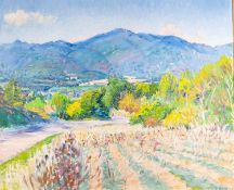 SPENSER FREDERICK GORE (1913 - 2009) OIL PAINTING ON CANVAS The Luberon from above Lourmarin