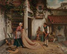 LODWIJK JAN PETRUS TOUTENEL (1819-1883)OIL PAINTING ON MAHOGANY PANEL A townhouse rear flagstone