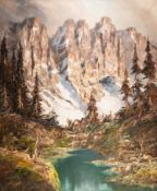 UNATTRIBUTED OIL PAINTING ON CANVAS Winter landscape with high mountains, fir trees and river in
