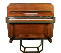 B. SQUIRES ART DECO FIGURED WALNUT UPRIGHT PIANO AND STOOL, the angles heightened in green paint and