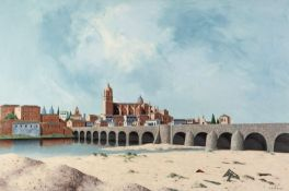 TRISTRAM HILLIER (1905 - 1983) OIL PAINTING ON CANVAS Salamanca Signed and dated (19)'61 lower right