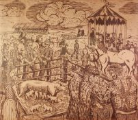 GT OR GJ (MODERN) WOODCUT Village fete with livestock, horse racing and band playing on the